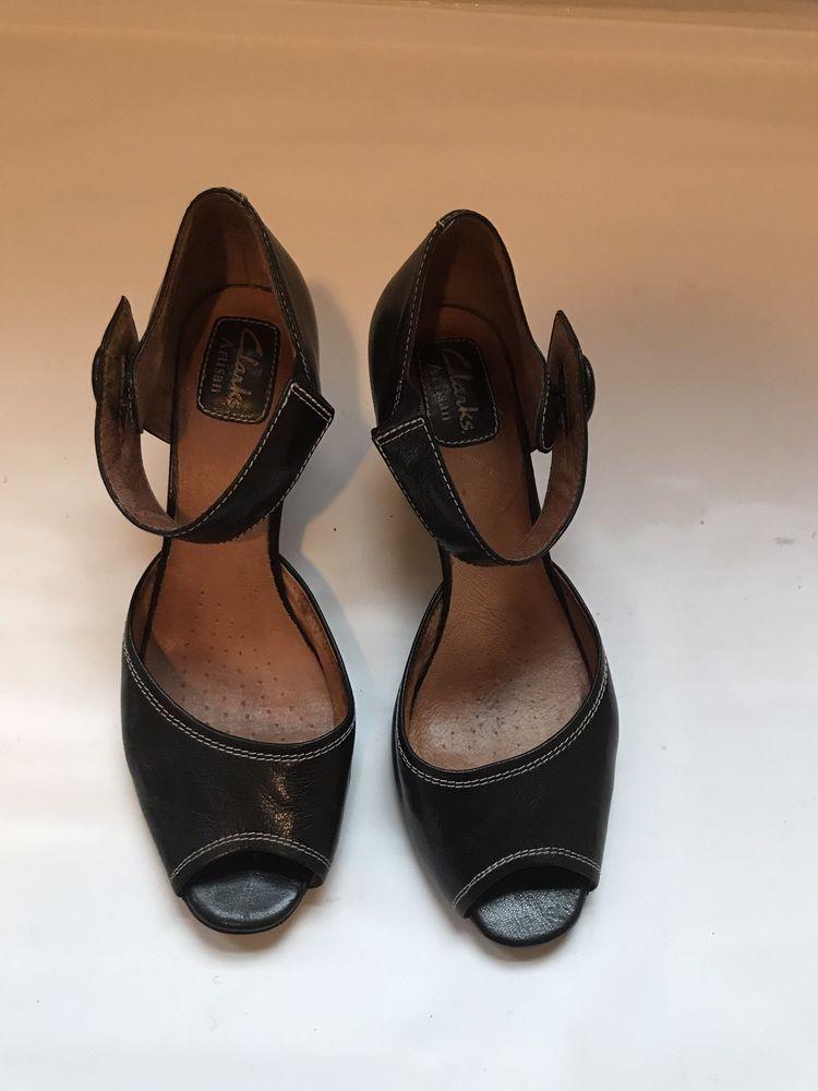 abadebf61 Clarks Artisan Womens black Leather Heels Sandals Sz. 9M  fashion  clothing   shoes
