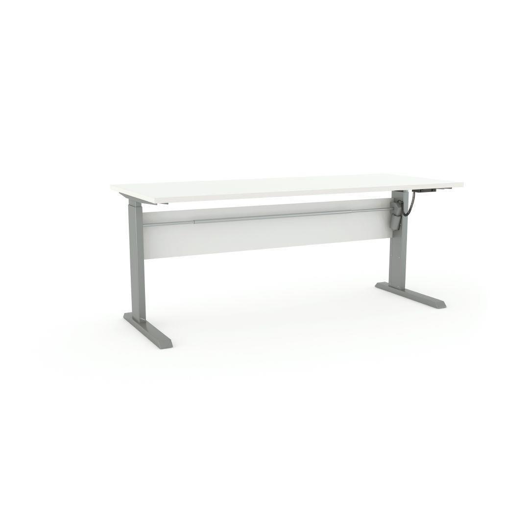 Cubit Height-Adj Electric Desk 30 White/Silver  White desks