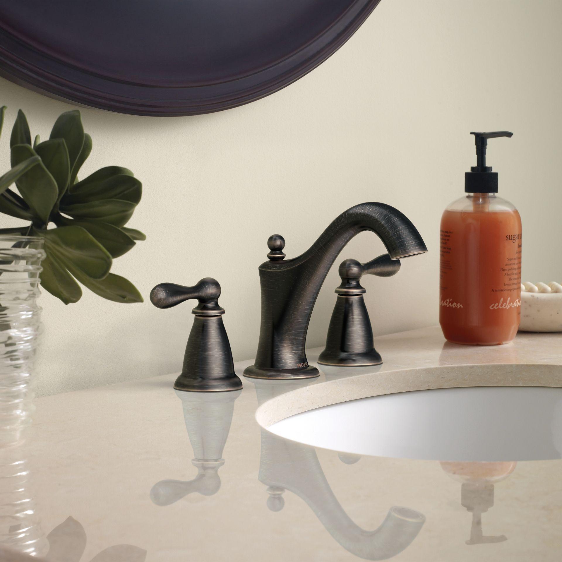 Moen Caldwell Mediterranean Bronze 2 Handle Widespread Watersense Bathroom Sink Faucet With Drain Lowes Com Bronze Bathroom Faucets High Arc Bathroom Faucet Faucet [ 1920 x 1920 Pixel ]