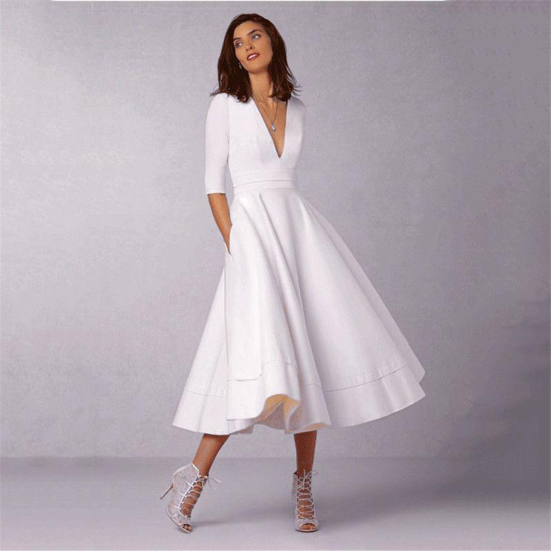 Pas cher 2018 Mode D\u0027été Robes Femmes Casual Plus La Taille robe de Bal