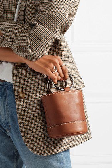 SIMON MILLER Bonsai 15 mini leather bucket bag. Classic style bag. Affiliate link.