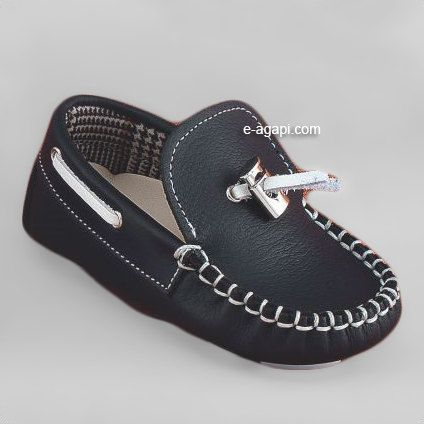 Leather baby boy crib shoes boat shoes white blue ...