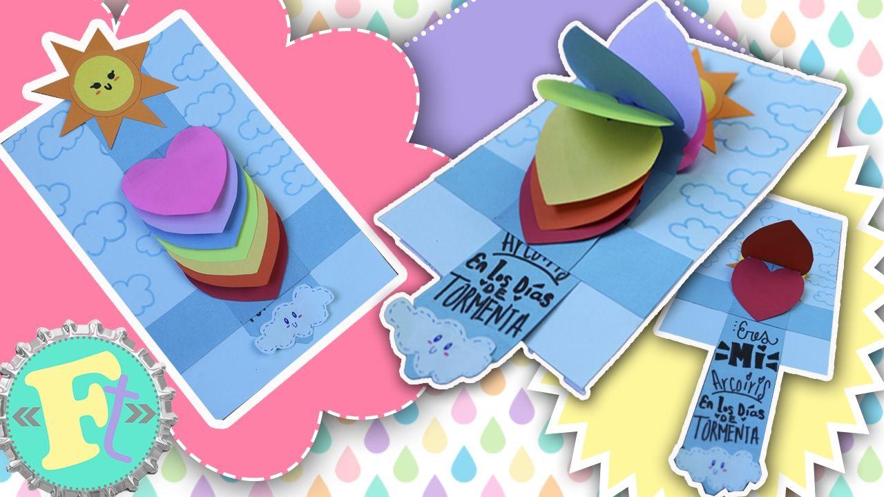 Tarjeta cascada de corazones arcoiris la mejor tarjeta - Manualidades para hacer tarjetas ...
