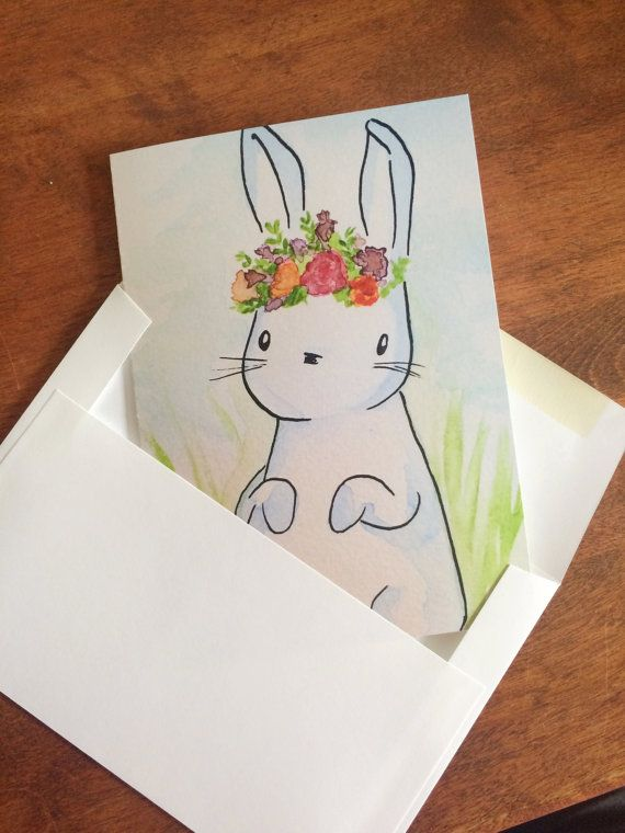 Pack Of 5 Cards Bunny Wears A Flower Crown For Spring Birthday And