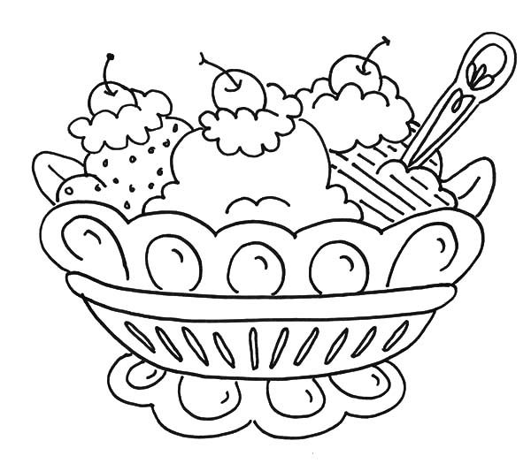 Ice Cream Banana Split And Ice Cream Coloring Pages Banana Split