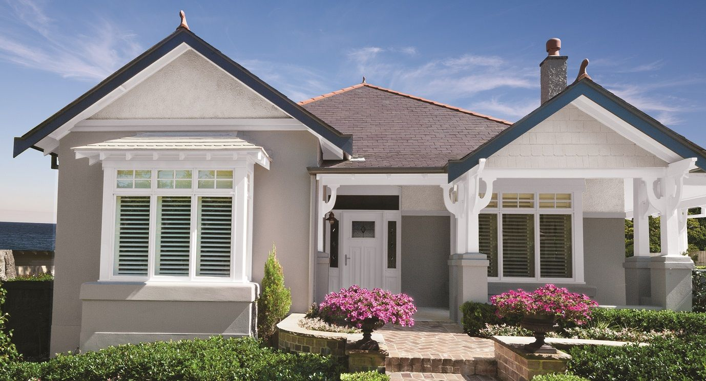 Bring the california bungalow into the 21st century with class using a deep modern neutral on for Taubmans exterior paint colours
