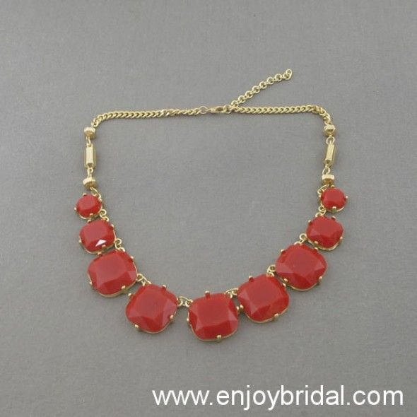 Red Bubble Necklace,Holiday Party,Bridesmaid Gifts,Beaded Jewelry,Wedding Necklace,Prom Necklace$15.00
