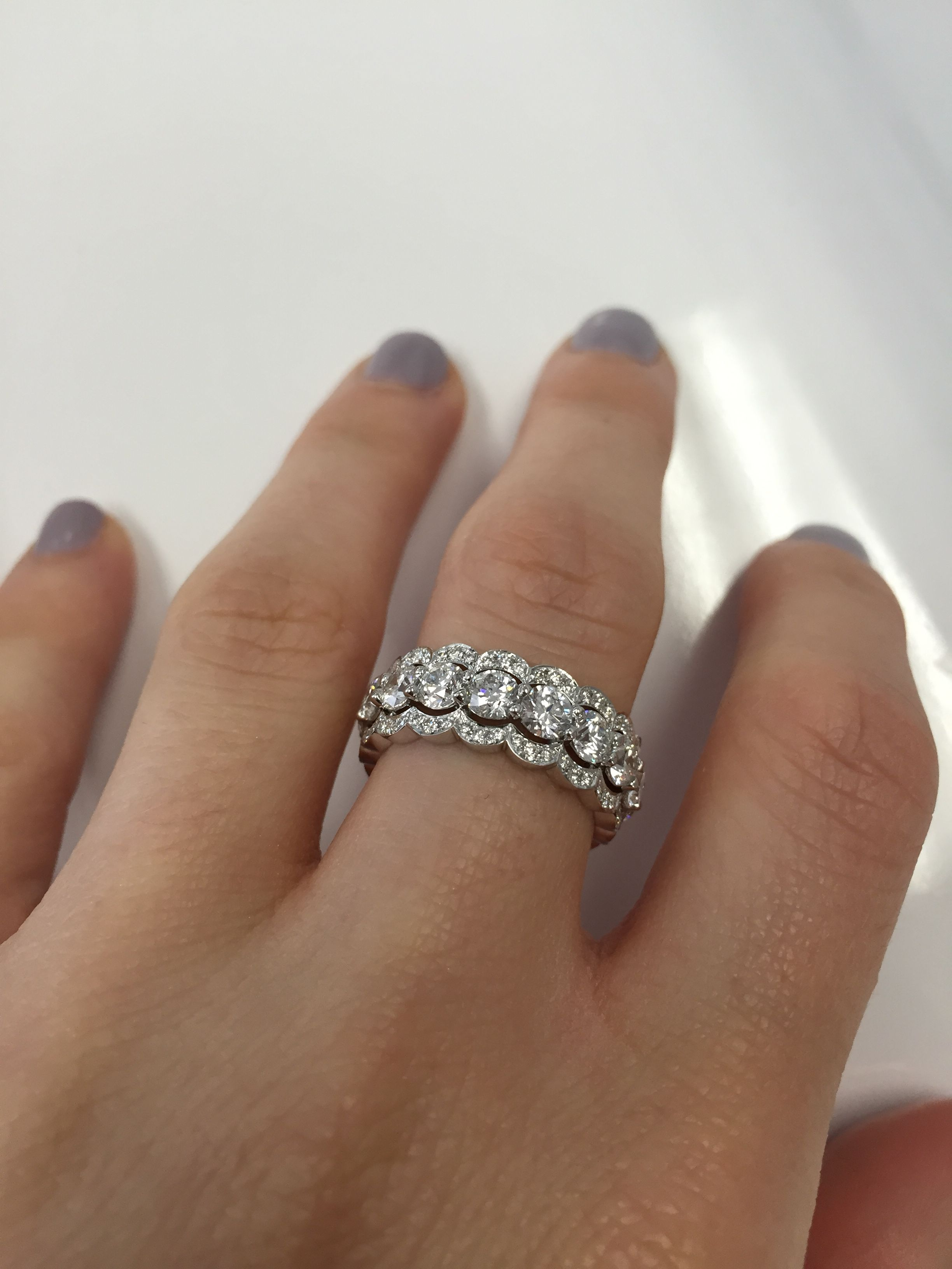 eternity ring rings wide band pin bands filigree cubic zirconia trisha cluster