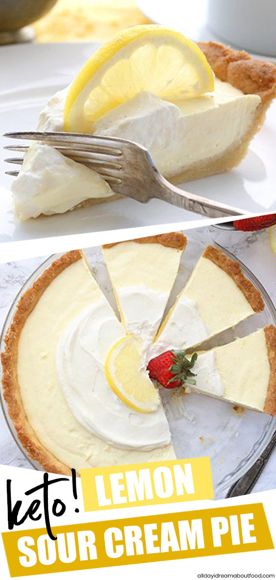 This Is The Best Keto Lemon Pie You Will Ever Make So Tangy And Creamy And Only 4g Net Carbs Per Ser In 2020 Lemon Dessert Recipes Lemon Sour Cream Pie