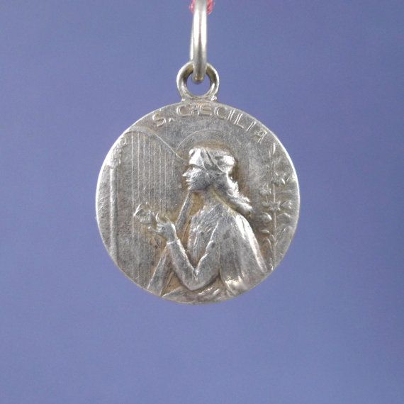 Saint cecilia vintage silver religious medal pendant on 18 inch saint cecilia vintage silver religious medal pendant on 18 inch sterling rolo chain aloadofball Image collections