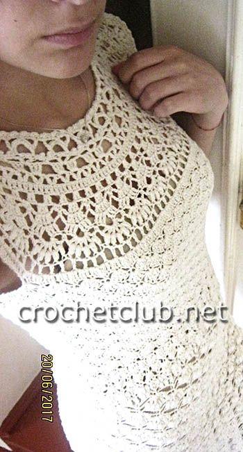 вязаное платье с круглой кокеткой вязание крючком блог настика