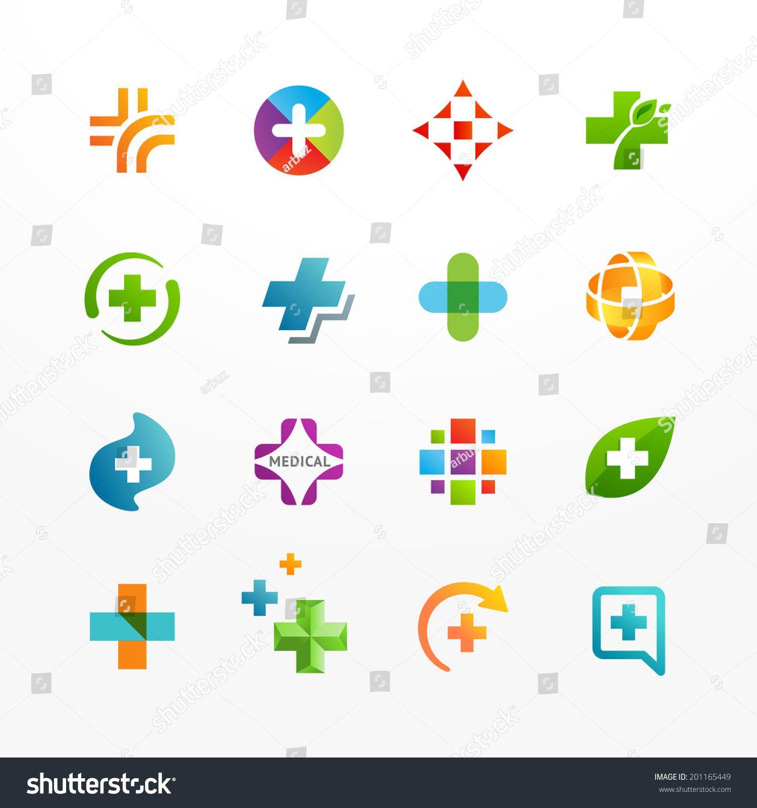 Vector set of medical logo icons with cross. Collection of