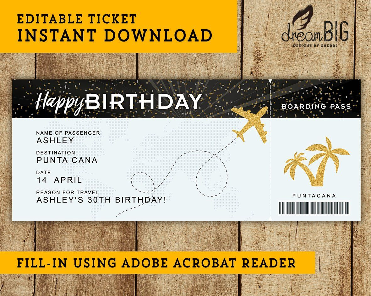 Birthday Fake Plane Ticket Printable Boarding Pass Surprise Trip Or Flight Gift Instant Download Editab Fake Plane Ticket Plane Tickets Ticket Template