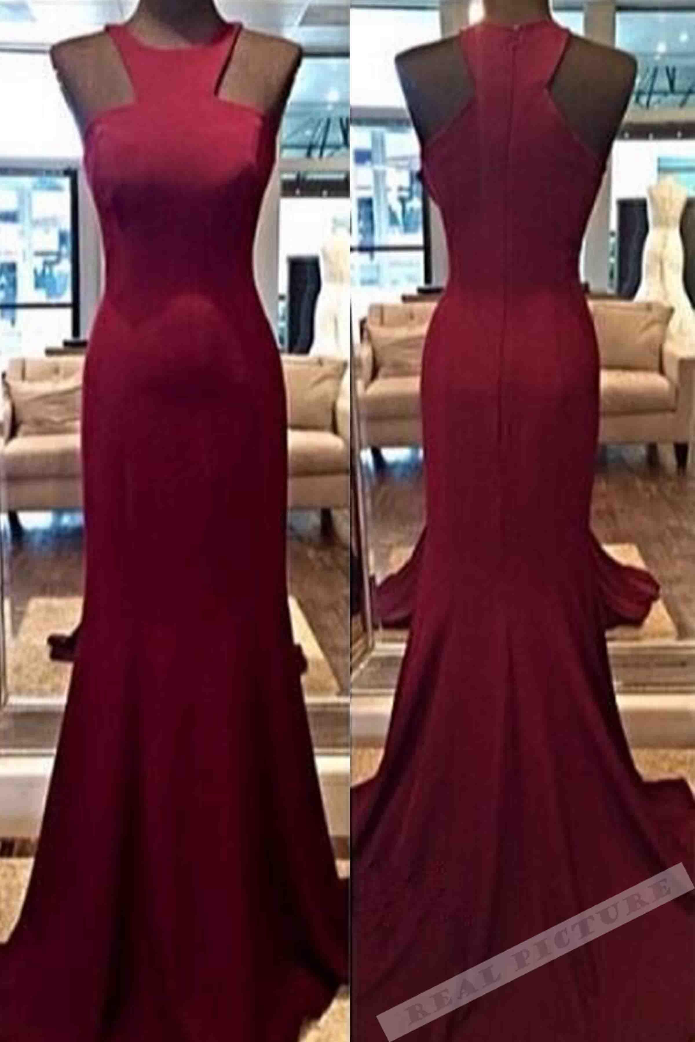 Wine satins roundneck slimline long prom dressevening dress from