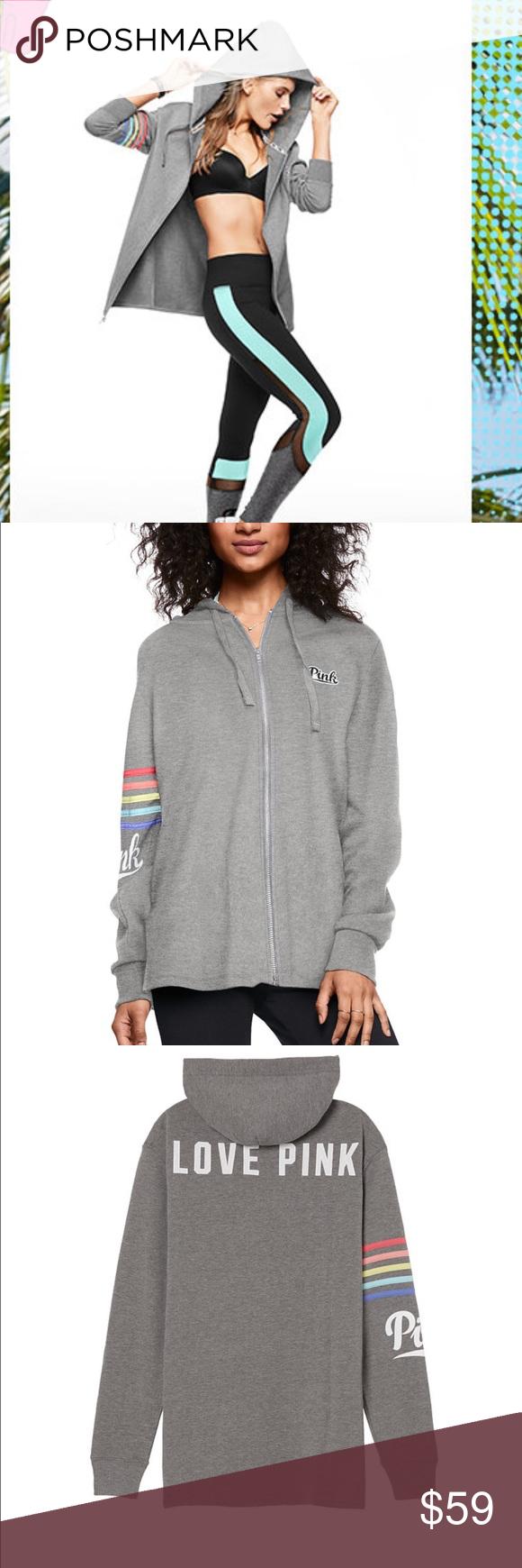Large PINK Side Slit Full Zip Hoodie NWT | Full zip hoodie ...