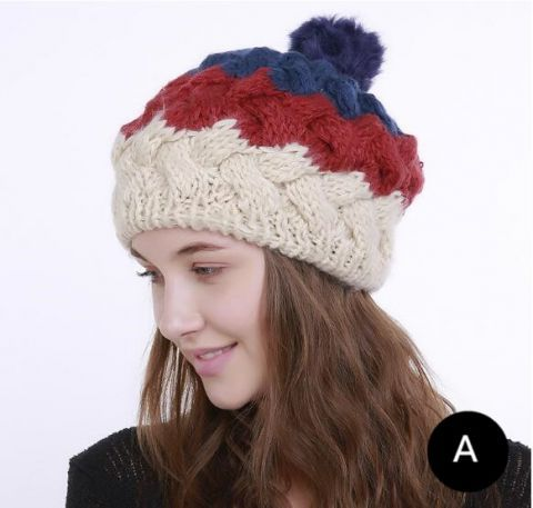 c85aa693348 Color block knitted beret hat with pom pom winter hats for lady ...