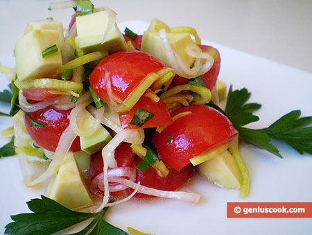 Avocado and Leek Salad:  1 Avacado (diced and soaked in lemon juice), 1 lb. cherry tomatoes (quatered), 1 (.4 lb.) Leek sliced into thin rings. Mix all together and add finely cut parsley, salt and olive oil to taste.