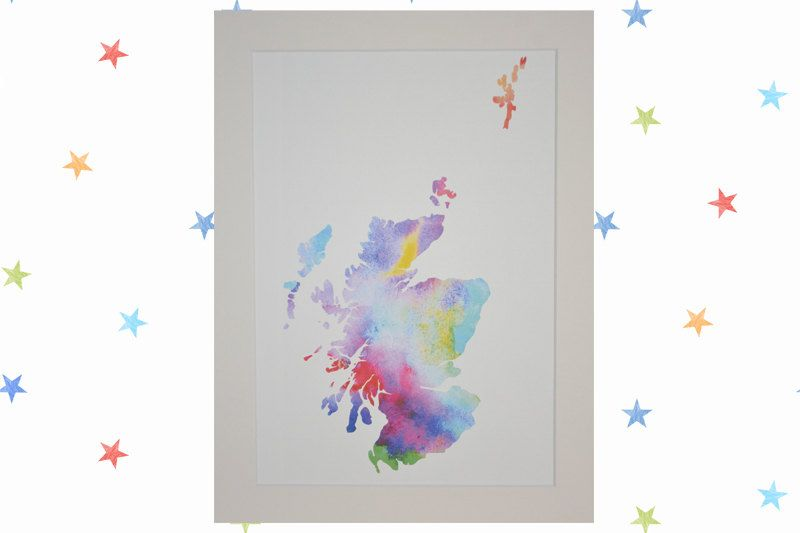 Large Papercut: Scotland Map backed with Watercolour Print by TheTartanPenguin on Etsy