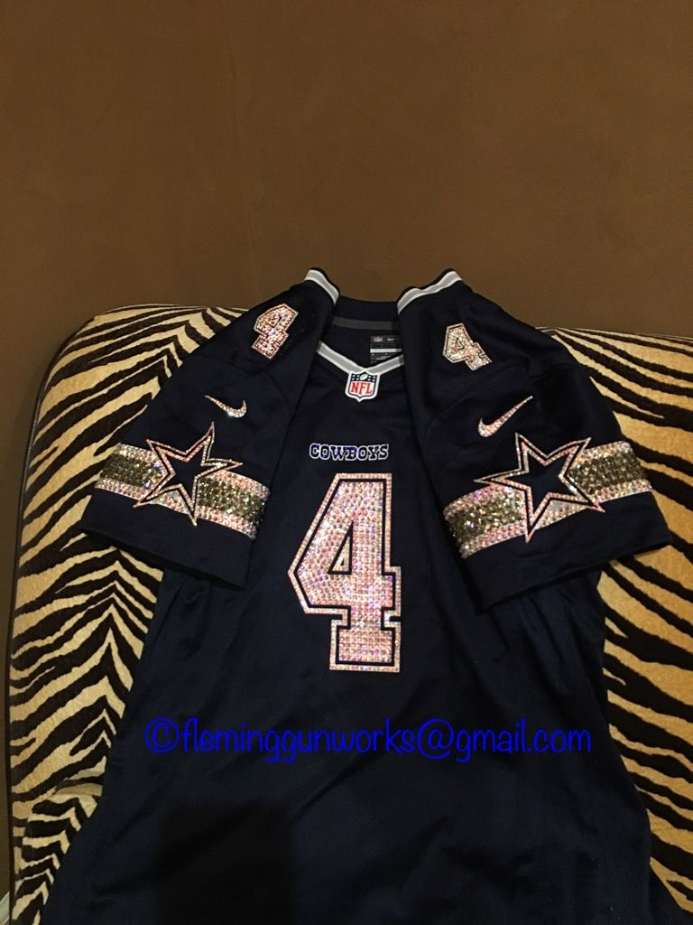 230753010 Front view of my crystalized cowboys jersey. All crystals hand placed by  me! Swarovski crystals