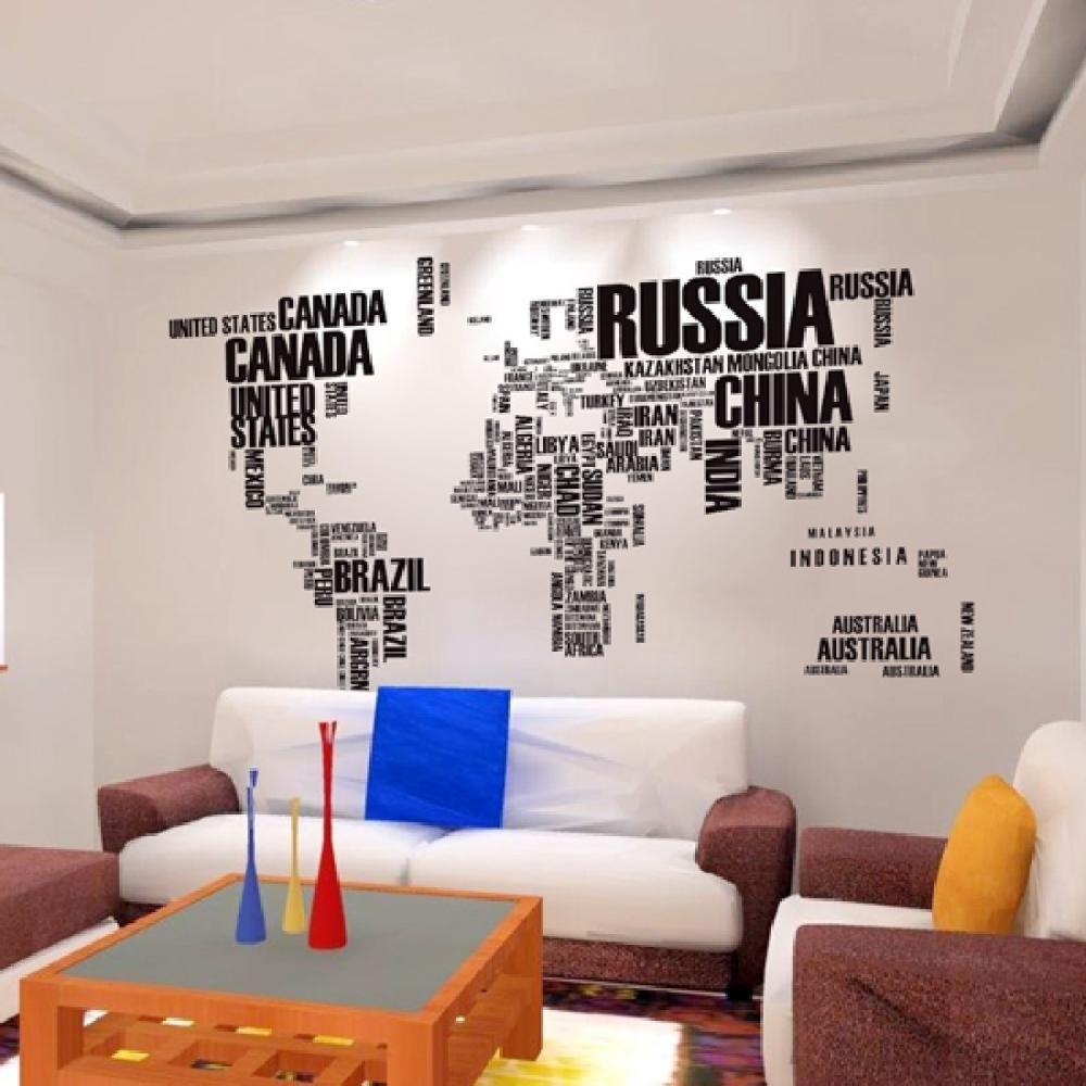 Motto English World Map Stickers Removable Diy Vinyl Quote Wall Sticker  Poster Home decoration Living Room
