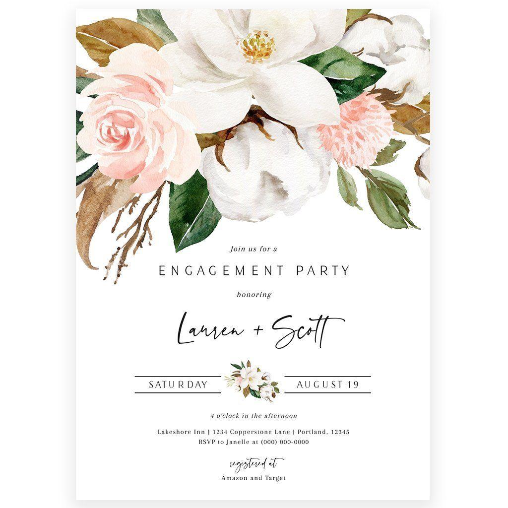 Magnolia Floral Engagement Invitation Engagement Invitations Engagement Invitation Cards Engagement Invitation Design