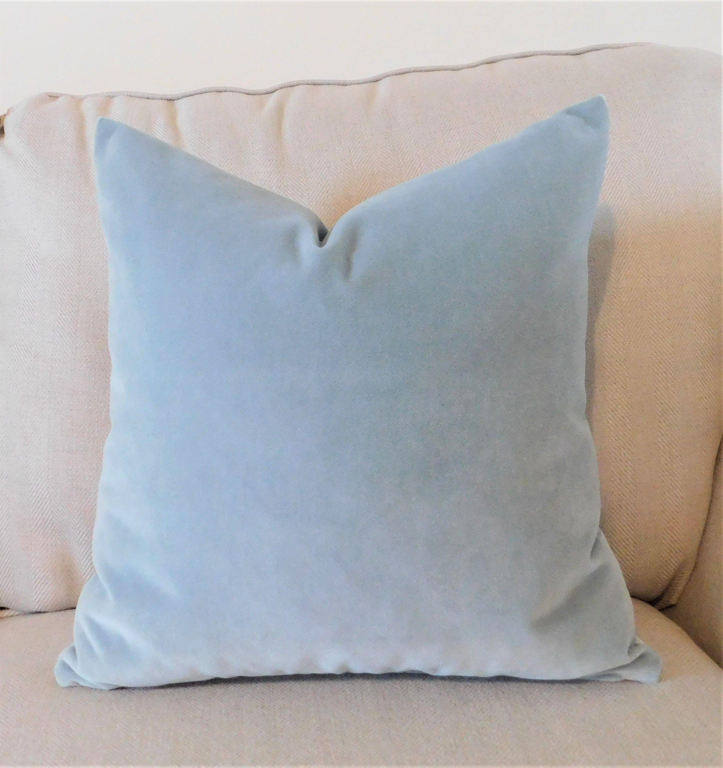beautiful pale blue velvet pillow cover