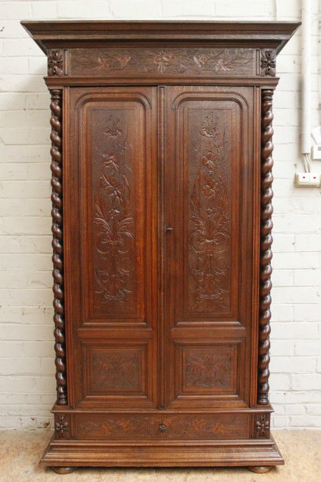 Gentil 1112044 : Antique French Renaissance Hunt Style 2 Door Oak Armoire Wardrobe  #Renaissance