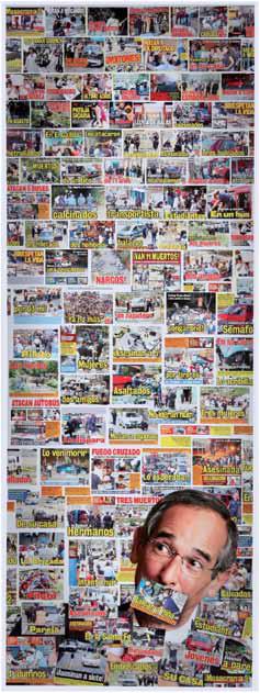 """Autor: Anibal Alfaro // Guatemala // De la serie """"Muro de los Lamentos"""": La violencia se combate con Inteligencia, // Collage, fotografia, portadas de Nuestro Diario"""