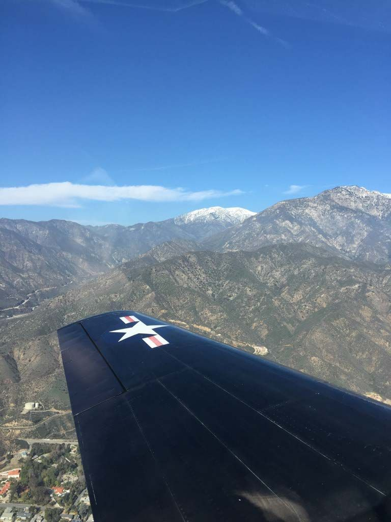 The view from a T6 Warbird over Mt  Baldy, California with