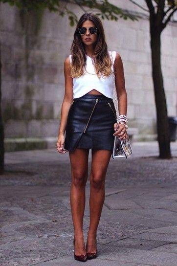 f0ebcec4d crop top con falda en cuero | Moda[¤] | Moda estilo, Faldas y Moda