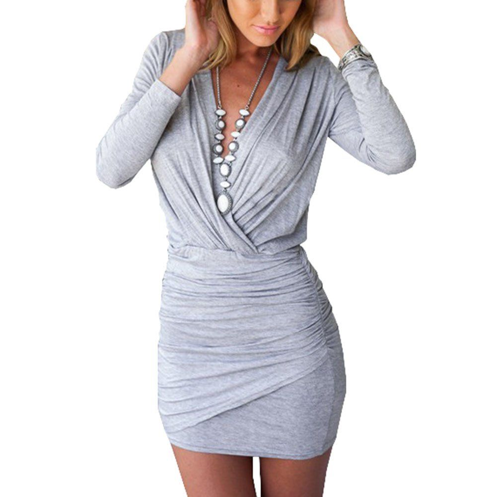 Womenus sexy cross deep v neck ruched long sleeve bodycon wrap party