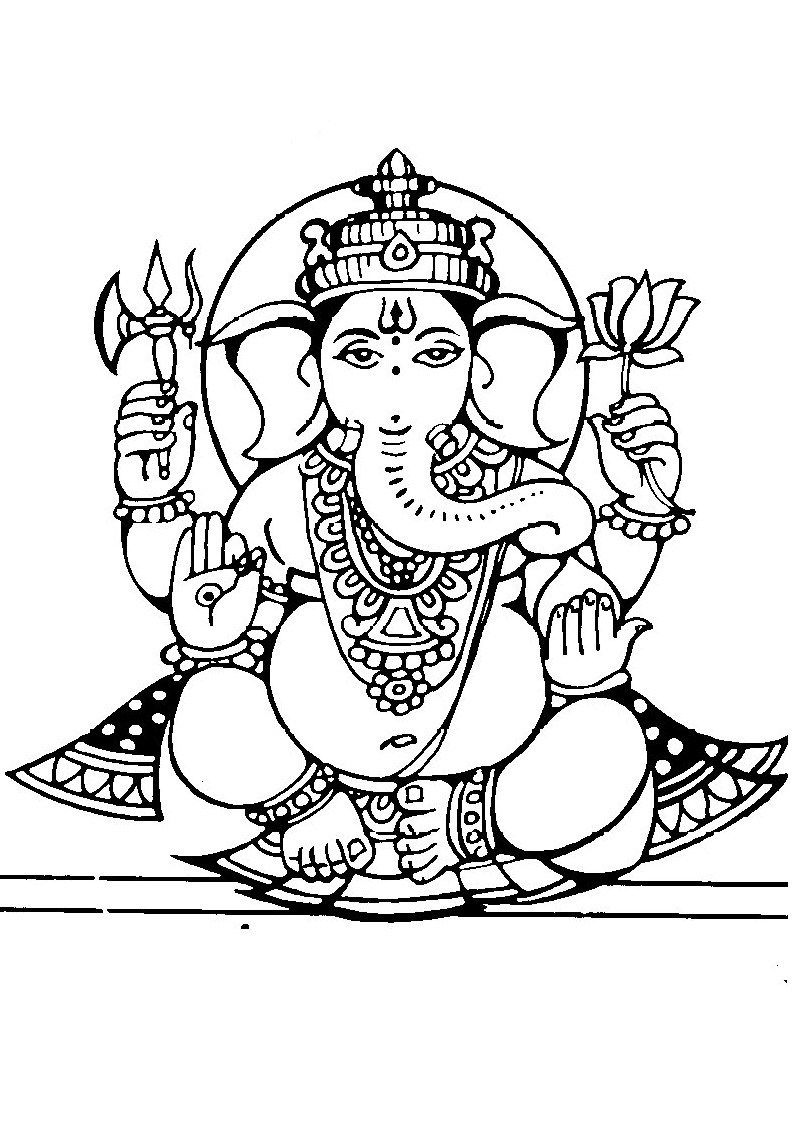 Lord Ganesha Free Coloring Pages For Kids Lord Ganesh Coloring Book Ganesha Hindu Art Art