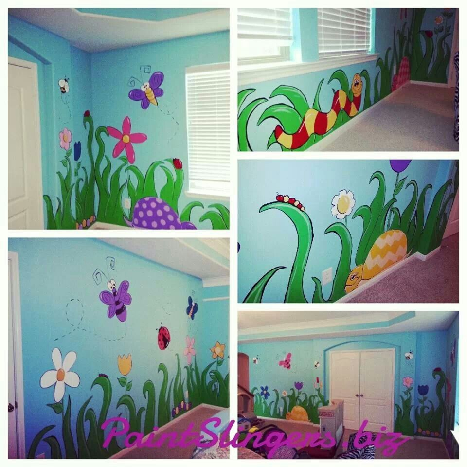 Kids Room Murals: Kids Room Mural Bugs Butterflies Turtles Flowers