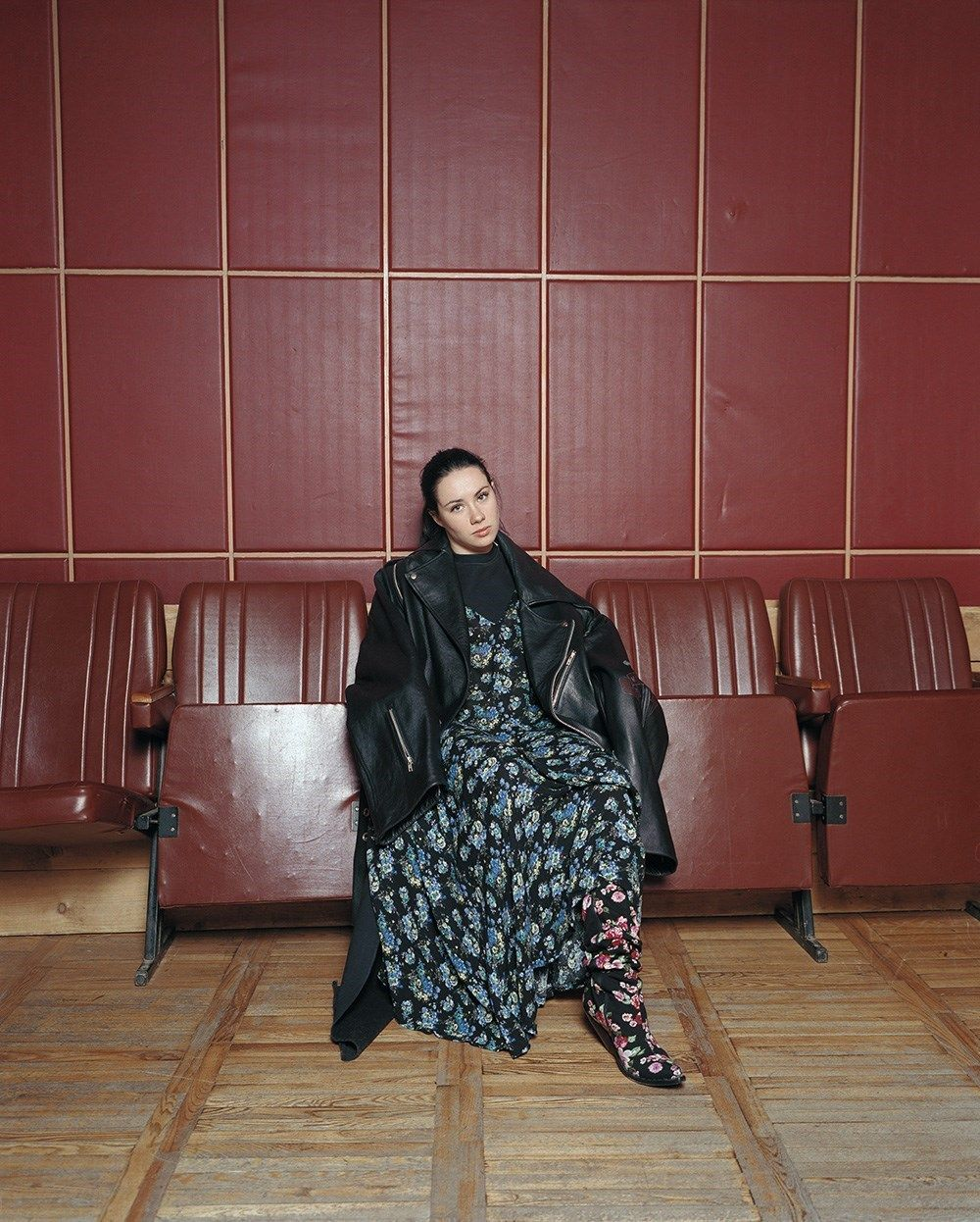 oversized leather bomber jacket and deconstructed floral print dress Vetements AW15, floral print cowboy boots Vetements SS16  Photography Andrew Miksys, fashion Lotta Volkova