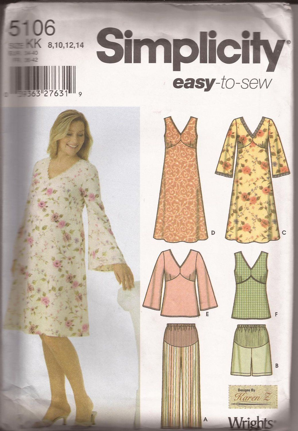 Simplicity 5106 (2004) Maternity Dress Tunic Crop Pants Shorts ...