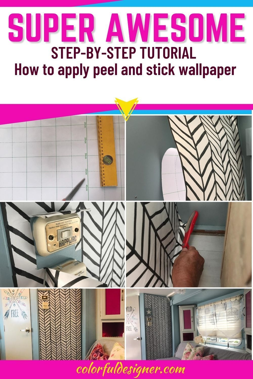 How To Apply Peel And Stick Wallpaper In Your Rv Colorful Designer Peel And Stick Wallpaper Rv Wallpaper Diy Remodel