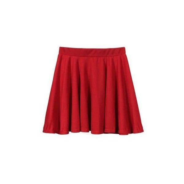 Yoins Red Skater Skirt -Red M/L ($10) ❤ liked on Polyvore