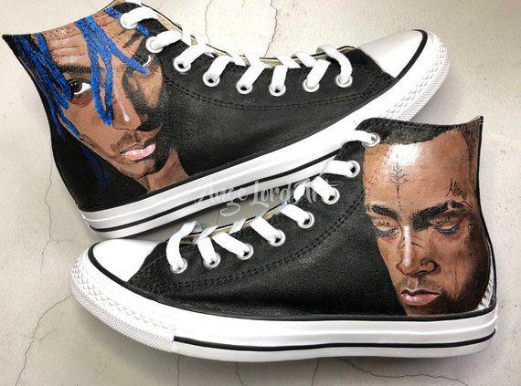 666536e14166cc Custom Painted XXXTentacion inspired Converse Hi Tops   Vans shoes  sneakers. Custom shoes