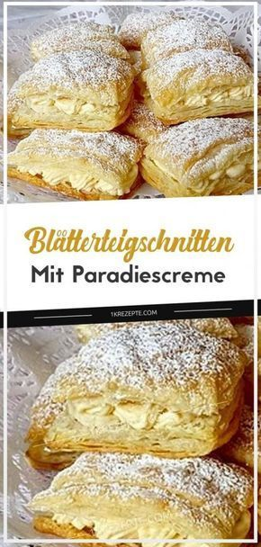 Blätterteigschnitten mit Paradiescreme #cookiesalad