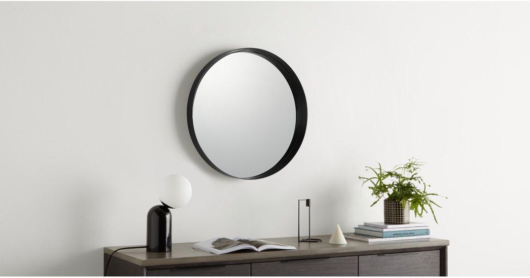 Alana, miroir rond 50 cm de diamètre, métal noir fini mat