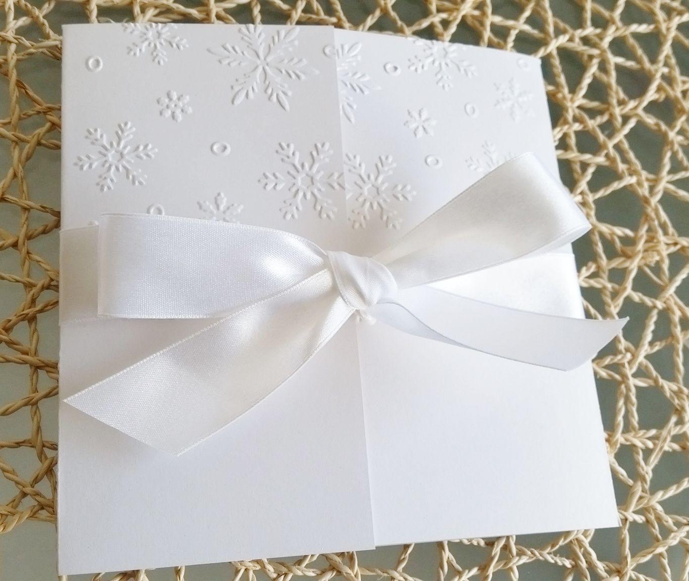 Winter Wonderland White Embossed Snow Flake Christmas Wedding