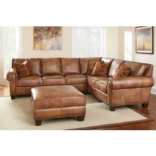 Leather Sofa Sanremo Top Grain Leather Sectional Sofa and Ottoman Set by Greyson Living Sanremo Sectional with Ottoman Brown