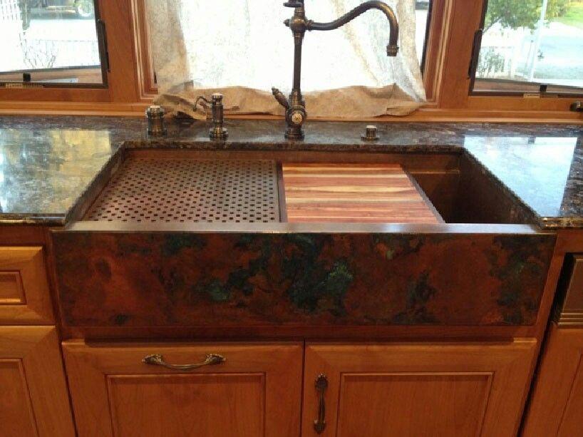Copper Sink With Black Countertop Copper Farmhouse Sinks Copper