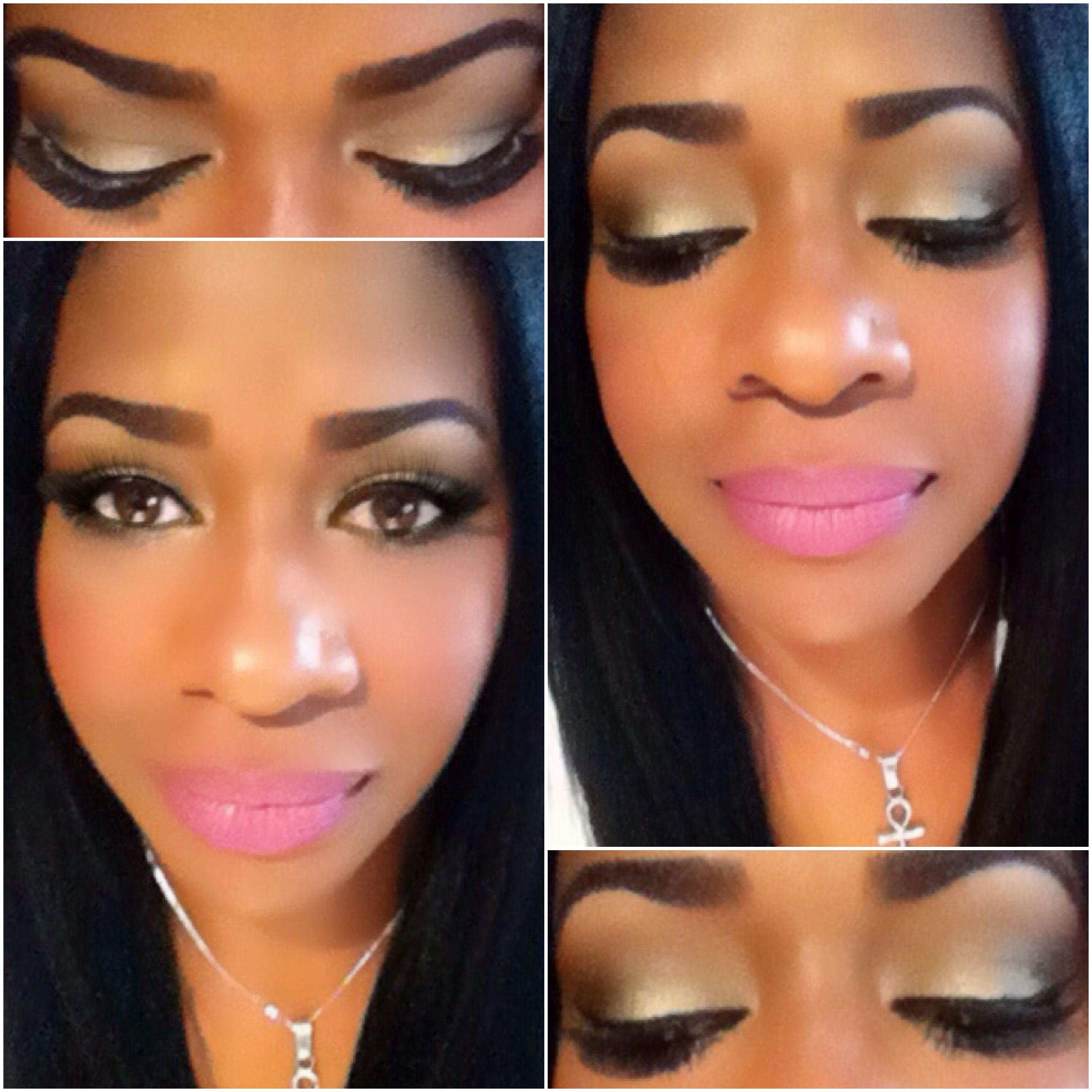 Black And Pink Kiss Makeup: Mac Wood-Winked Eyeshadow And Mac Pink Nouveau Lipstick
