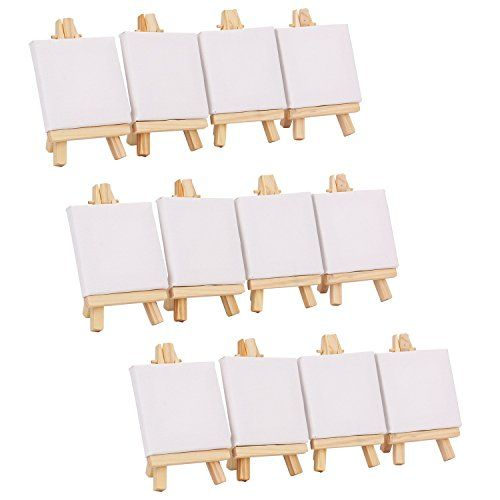 12Pcs 3x3 Mini Canvas /& Easel Set Painting Artists Craft Drawing