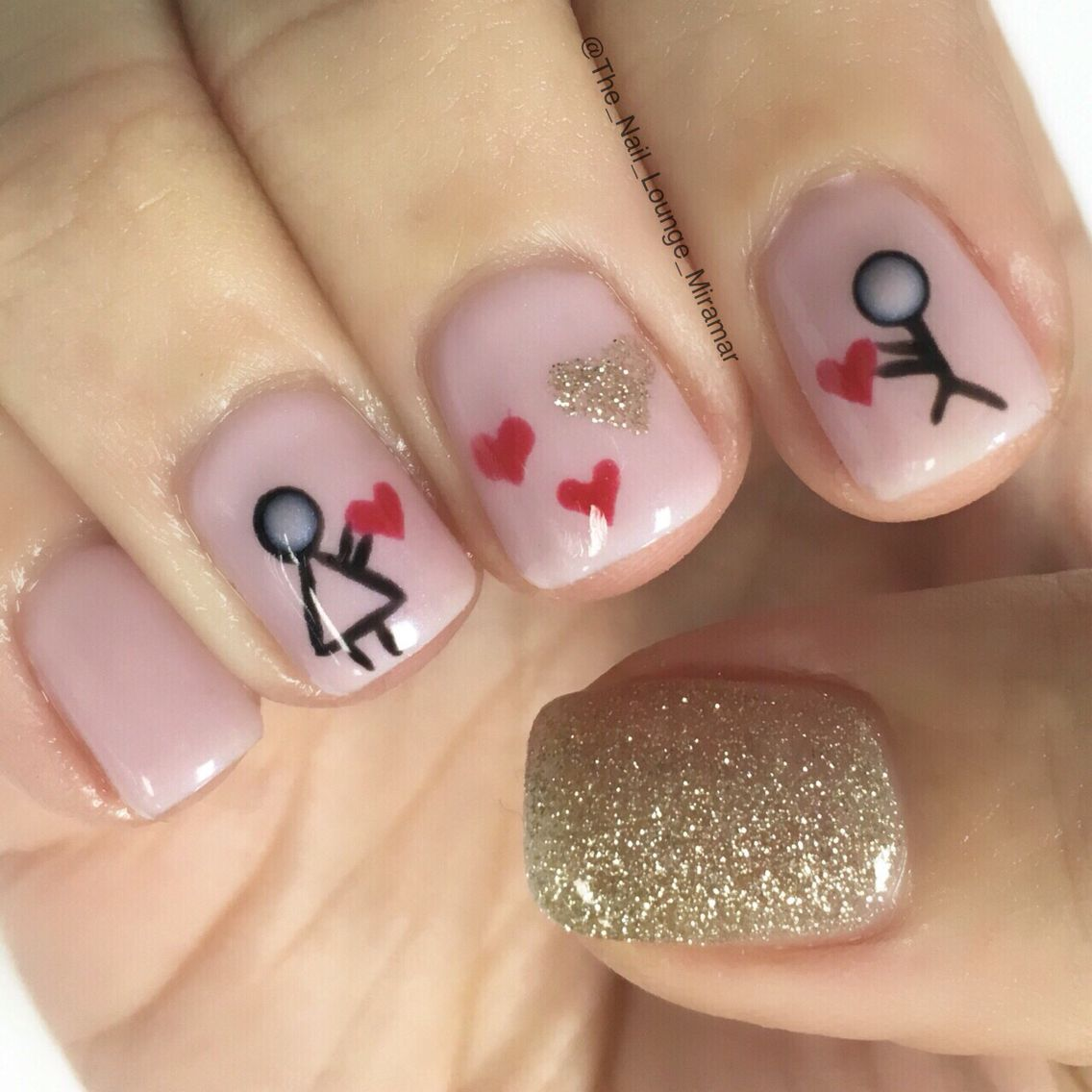 Valentines Stick Figure Love Nail Art Design Valentines Nails Nail Art Hacks Nail Art Designs