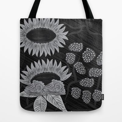 #Black and white Floral Art Tote Bag by famenxt - $22.00 https://www.facebook.com/pages/Famenxt/550802918263401
