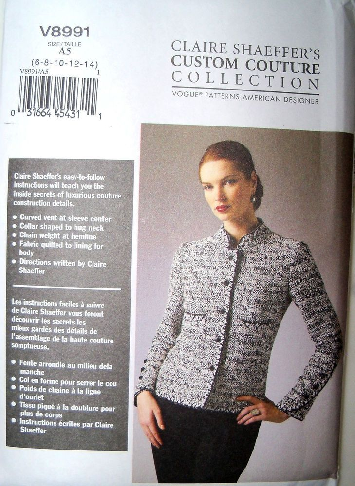 Vogue Claire Shaeffer Custom Couture Cardigan Jacket 8991 Sewing ...