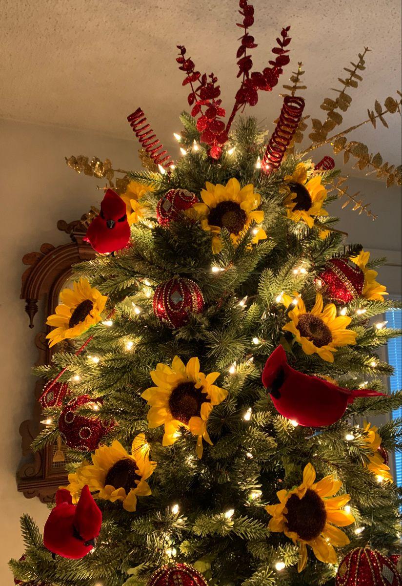 Sunflower Christmas Tree Cardinal Top Christmas, Holiday