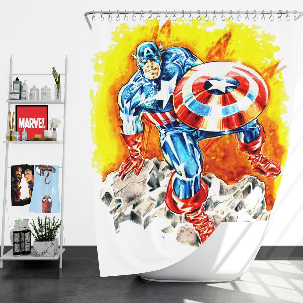 Captain America The First Avenger Marvel Shower Curtain Marvel Captain America Avengers